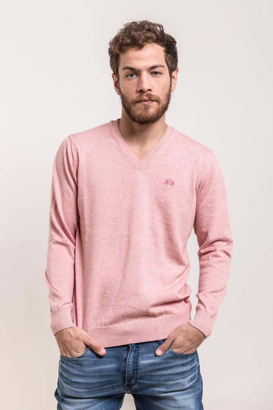 SWEATER-VNECK-SALOMON-CORAL-MELANGE
