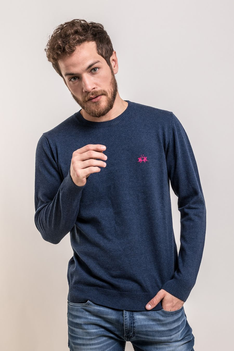 SWEATER-CNECK-STRATOS-NAVY-MELANGE